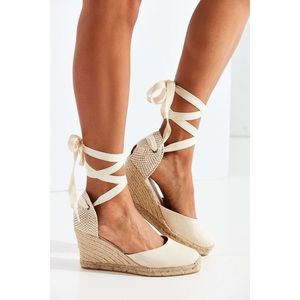 🔴NWT Soludos Lace Up Espadrille Wedge Sandal GRAY